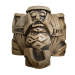 This bowl depicts three tikis in see no evil, hear no evil, speak no evil poses.