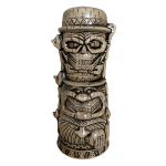 This tiki mug depicts the three Hitchhiking Ghosts from Disney's The Haunted Mansion stacked on top of each other in a totem formation.