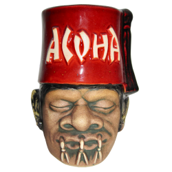 Front - Shrunken Shriner - Mahalo Tiki - Red Fez Aloha Edition