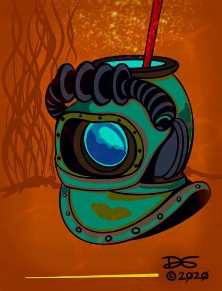 Aquanaut V Tiki Mug Concept Art by Tiki Diablo