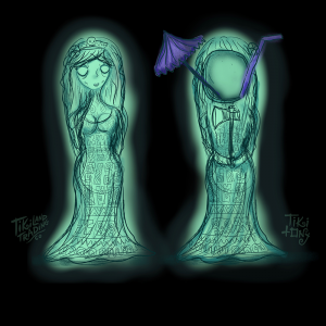 Concept Art for Tiki Tony's Hurry Back Mug Featuring the Bride from Haunted Mansion