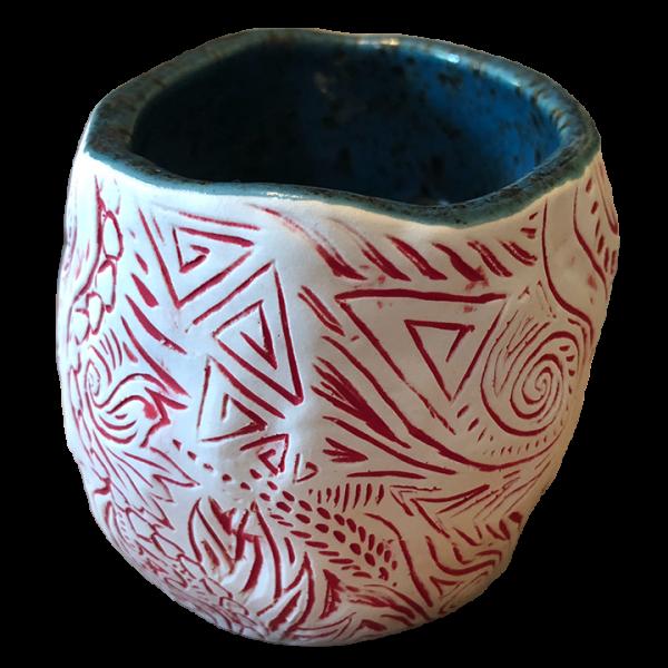 Back - Shrunken Skull Tiki Mug - Shima Ceramics - Matte Red Edition
