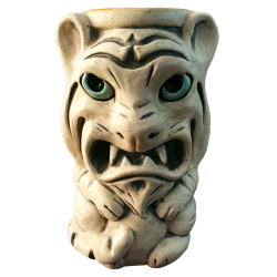 Front - Maui Tiki Tiger - Ceramics by Carol - White with Blue Eyes Edition