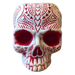 Front - Shrunken Skull Tiki Mug - Shima Ceramics - Matte Red Edition