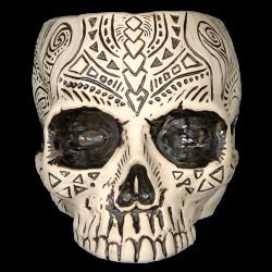 Front - Shrunken Skull Tiki Mug - Shima Ceramics - Petri Dish Blue Edition