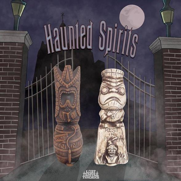 Haunted Spirits tiki mugs in Wood and Stone Glazes