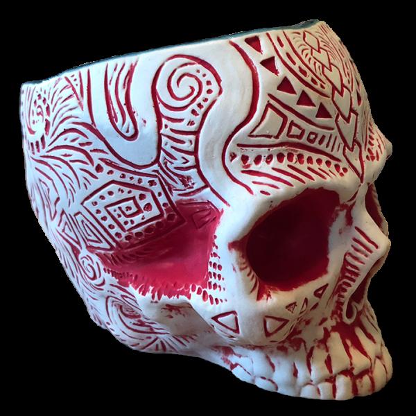 Side - Shrunken Skull Tiki Mug - Shima Ceramics - Matte Red Edition