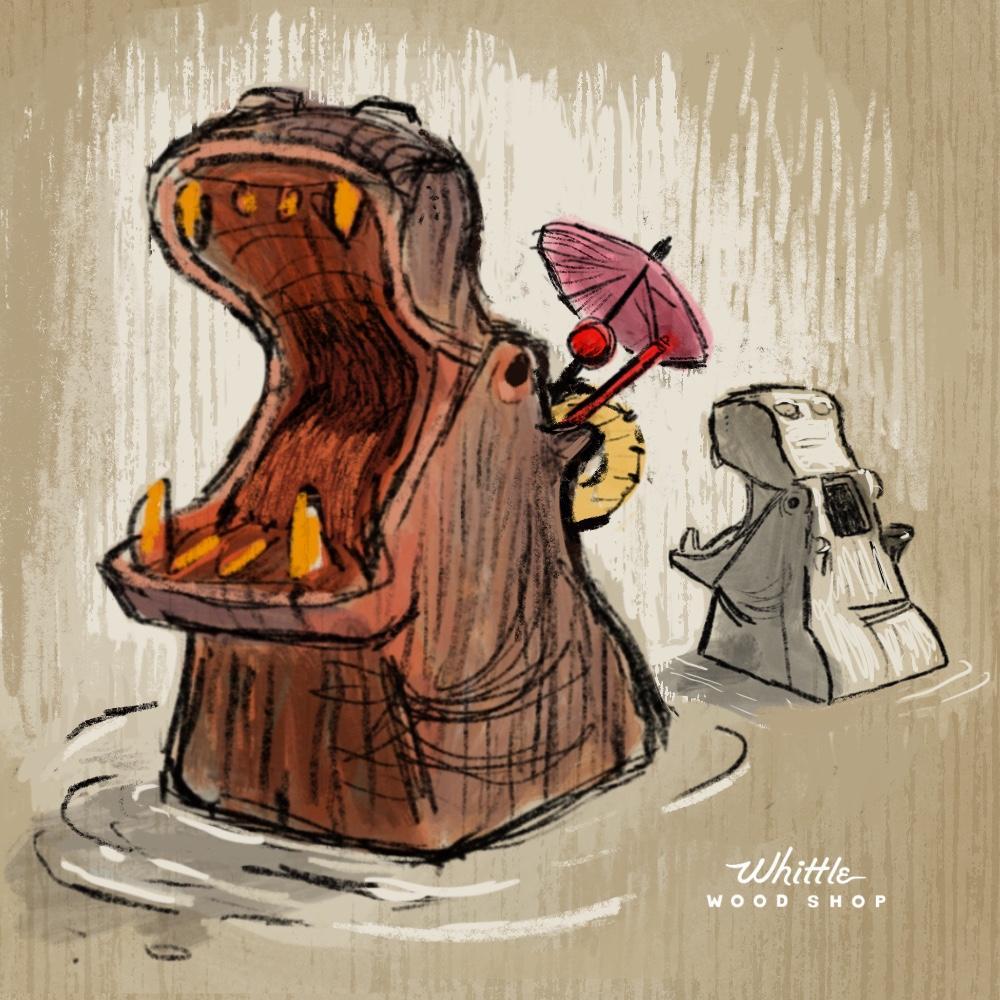 Whittle Hippo Tiki Mug Concept Art