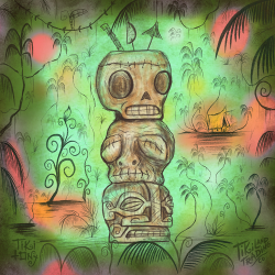 Head Stack Tiki Mug Design Artwork