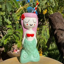 Lagoon Mermaid Tiki Mug with Lavender Hair