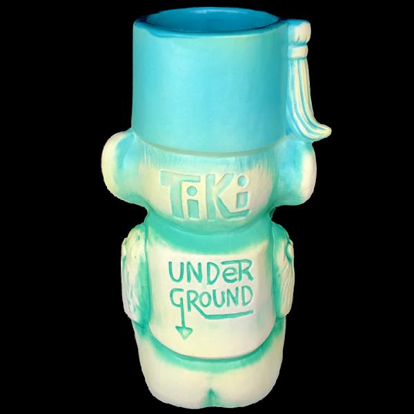 Back - 3rd Anniversary Mug (Monkey) - Tiki Underground - 2nd Run Blue Glaze