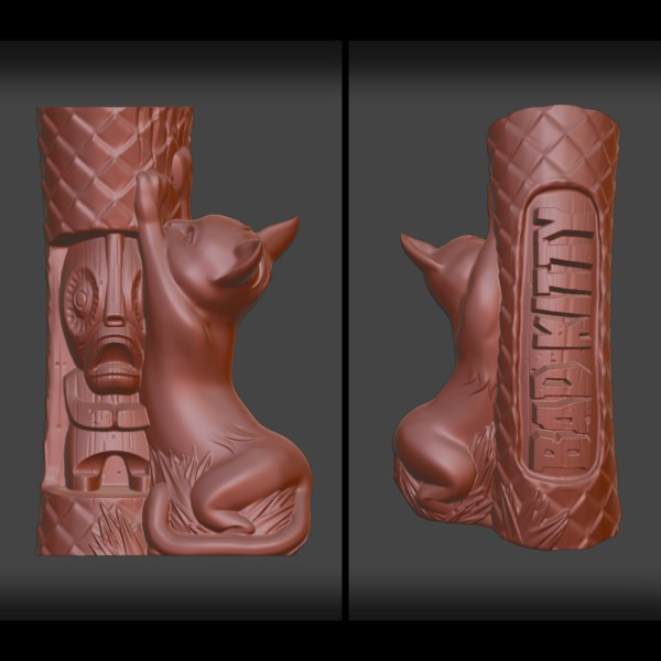 Bad Kitty Tiki Mug 3D Sculpt Preview