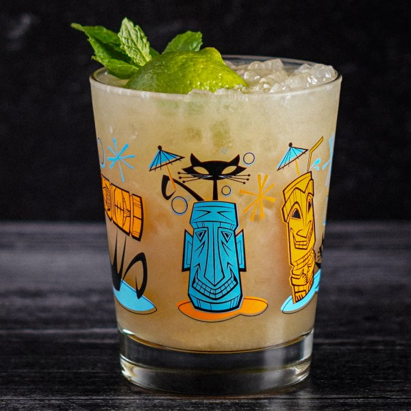 Naughty Cat Mai Tai Glass in Blue/Orange