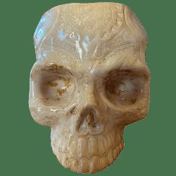 Front - Shrunken Skull Tiki Mug - Shima Ceramics - Marbled Tan Edition