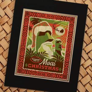 Moai Christmas Art Print by Jeff Granito
