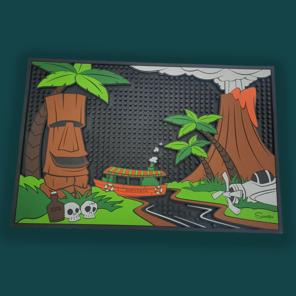 Tiki River Cruise Bar Mat By Scooter And The Search For Tiki