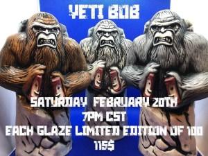 Yeti Bob in Three Mug Glazes
