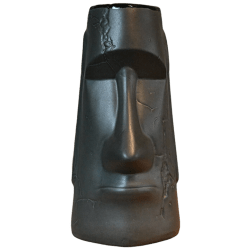Front - Aku Aku Moai Mug - Biggs Tiki - Super Deluxe Limited Matte Black Edition