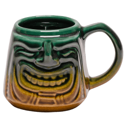 Front - Java Tiki Mug - Tiki Bauer - Emerald Green and Warehouse Brown Edition