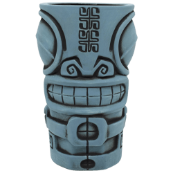 Front - Marqool Mug - Tiki Farm - Blue With A Black Wash Edition