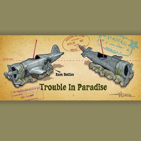Trouble in Paradise Mug Concept Art