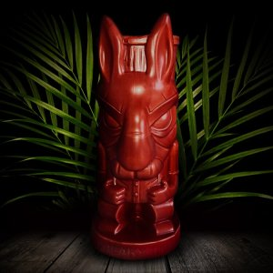 Dr Tiki Mug With Red Glaze