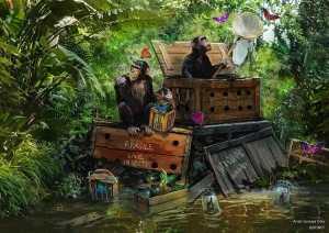 Jungle Cruise Concept Art Featuring Monkeys and Butterflies