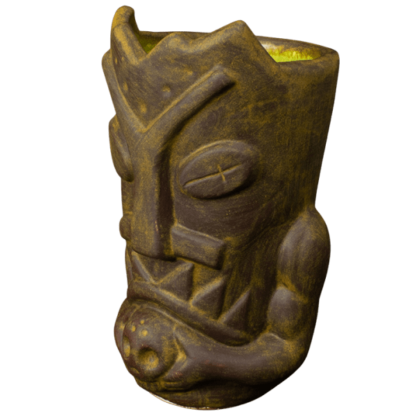 Side - Terrible Tiki Mug - Terrible Tiki - Rusted Iron With Green Interior Edition