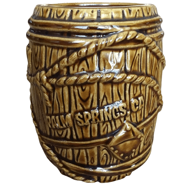 Back - Rum Barrel - Tonga Hut Palm Springs - Brown With Orange Lettering Edition