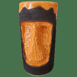 Front - Carved Moai Mug - TH Tiki - Lava and Orange Edition
