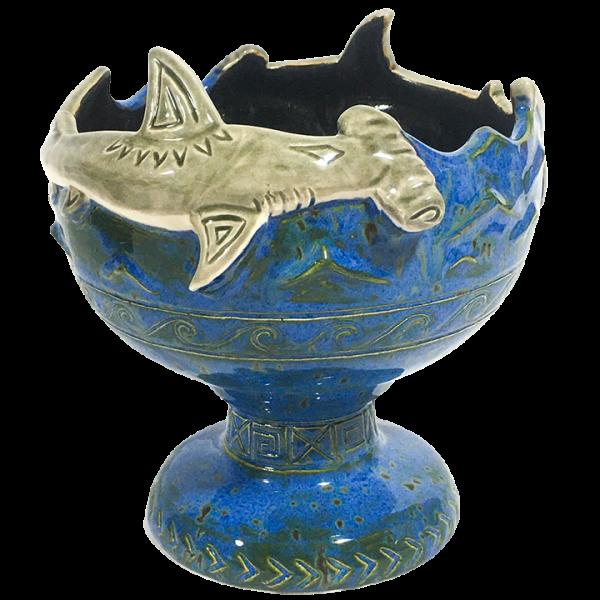 Front - Hammerhead Shark Bowl 2.0 - Shima Ceramics - Artist Proof #1 (Blue With Grey Sharks)