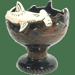Front - Hammerhead Shark Bowl 2.0 - Shima Ceramics - Artist Proof #2 (Glossy Black)