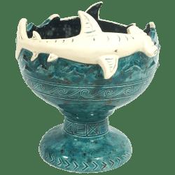 Front - Hammerhead Shark Bowl 2.0 - Shima Ceramics - Artist Proof #4 (Turquoise)