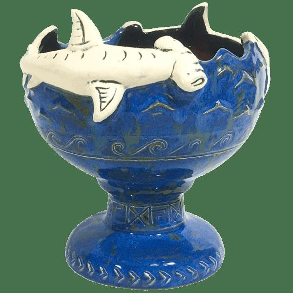 Front - Hammerhead Shark Bowl 2.0 - Shima Ceramics - Bondi Blue Edition
