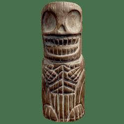 Front - Skelly Tiki Totem - Shrunken Monkey - Weathered Wood Edition