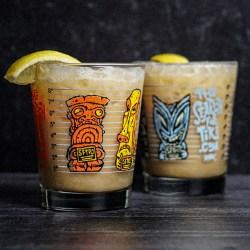 Mug Shot Mai Tai Glass Set Featuring BigToe Art - Two Glasses Front