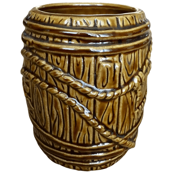 Side - Rum Barrel - Tonga Hut Palm Springs - Brown With Orange Lettering Edition