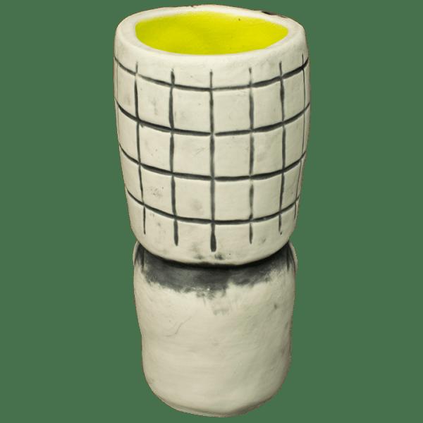 Back - Skeletal Tiki Shot Glass - Terrible Tiki - White With Lime Interior Edition