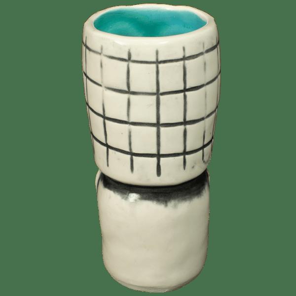 Back - Skeletal Tiki Shot Glass - Terrible Tiki - White With Teal Interior Edition