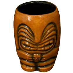 Front - Little Headhunter Tiki Shot Glass - Terrible Tiki - Brown With Black Interior Edition
