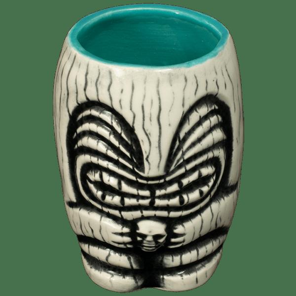 Front - Little Headhunter Tiki Shot Glass - Terrible Tiki - White With A Teal Interior Edition