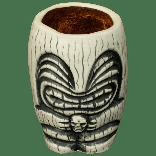 Front - Little Headhunter Tiki Shot Glass - Terrible Tiki - White With Rusty Yellow Interior Edition