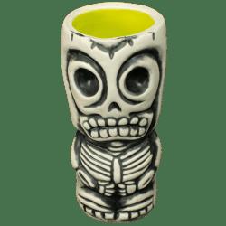 Front - Skeletal Tiki Shot Glass - Terrible Tiki - White With Lime Interior Edition