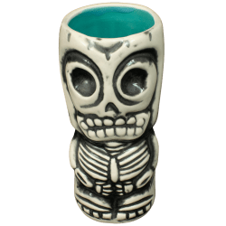 Front - Skeletal Tiki Shot Glass - Terrible Tiki - White With Teal Interior Edition