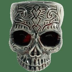 Front - Shrunken Skull Double Shot Glass - Shima Ceramics - Smoke and Blood Edition