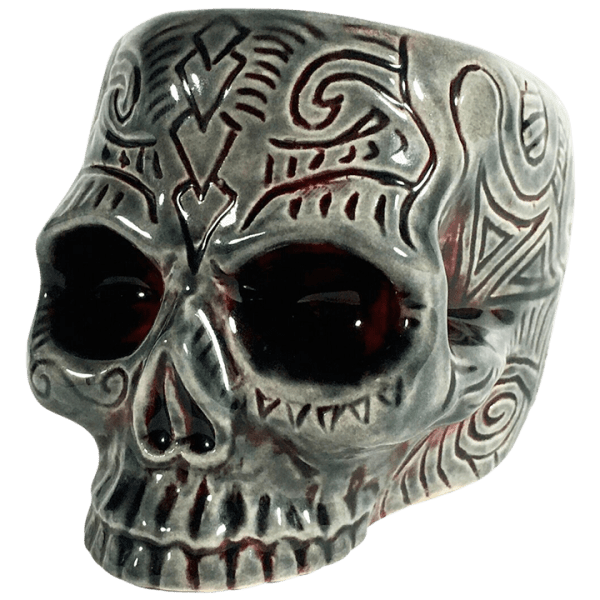 Side - Shrunken Skull Double Shot Glass - Shima Ceramics - Smoke and Blood Edition